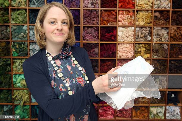Jenny AdinChristie an embroiderer from Chessington who worked on the Duchess of Cambridge's Wedding Dress demonstrates the applique embroidery...