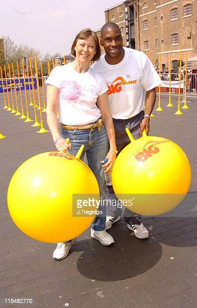 Jenny Agutter and Mark Richardson during The 2005 Big Bounce for Cystic Fibrosis Photocall at West India Quay Docklands in London Great Britain