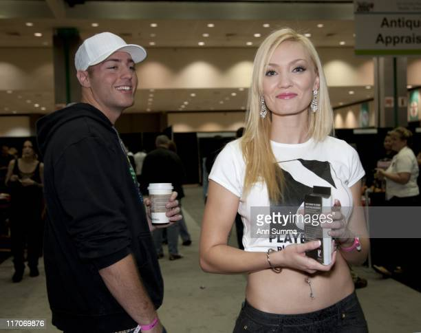 Jenny Allford and Jessica Vargas of Playboy TV at the LA Convention Center during the Reality Rocks reality show convention on April 10 2011 in Los...