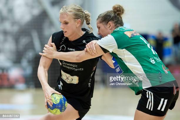Jenny Alm of Copenhagen Handball and Rikke Iversen of Silkeborg Voel challenge for the ball during the Danish HTH Go Ligaen match between Copenhagen...