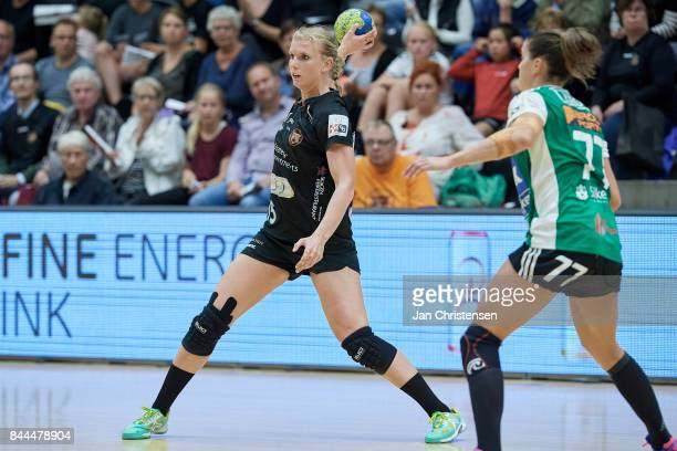 Jenny Alm of Copenhagen Handball in action during the Danish HTH Go Ligaen match between Copenhagen Handball and Silkeborg Voel in...