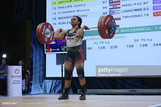 Jenny Arthur competes in the women's 69kg clean and jerk weight class at the USA Olympic Team Trials for weightlifting at the Calvin L Rampton...