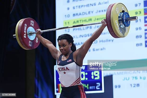 Jenny Arthur competes in the women's 69kg snatch weight class at the USA Olympic Team Trials for weightlifting at the Calvin L Rampton Convention...