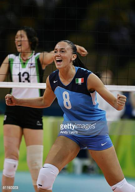 Jenny Barazza of Italy celebrates in the women's indoor Volleyball preliminary match against South Korea on August 14 2004 during the Athens 2004...