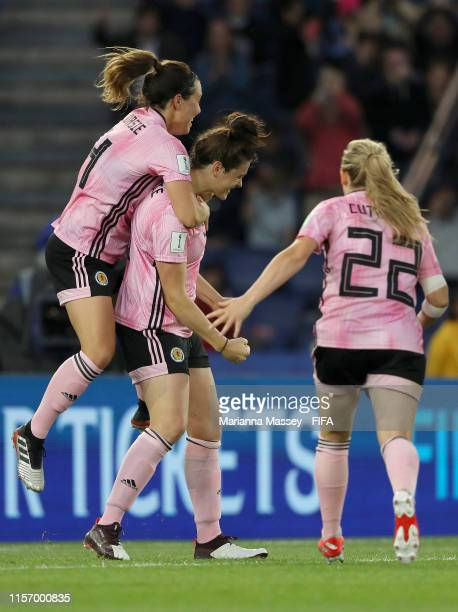 Jenny Beattie of Scotland celebrates with teammates after scoring her team's second goal during the 2019 FIFA Women's World Cup France group D match...