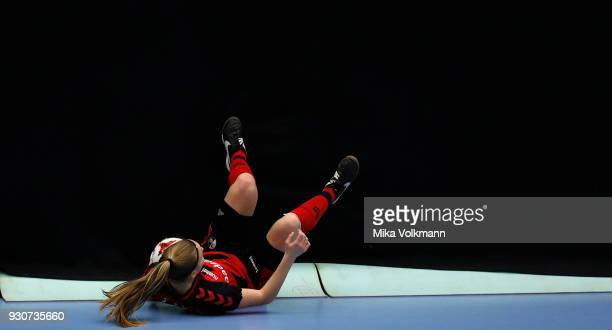 Jenny Beyer of Freiburg falls down during the DFBFutsalCup half final match between 1FC Koeln vs SV Adler Berlin on March 11 2018 in Wuppertal Germany