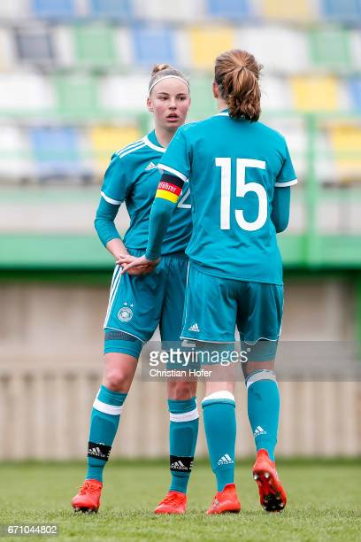 Jenny Beyerl and Emilie Bernhardt of Germany celebrate after scoring during the Under 15 girls international friendly match between Czech Republic...