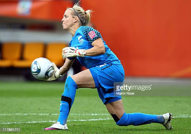 Jenny Bindon of New Zealand throws the ball during the FIFA Women's World Cup 2011 Group B match between New Zealand and England at...
