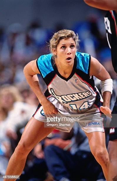 Jenny Boucek of the Cleveland Rockers defends against the New York Liberty on August 23 1997 at Gund Arena in Cleveland OhioNOTE TO USER User...