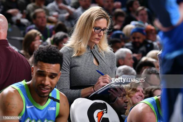 Jenny Boucek of the Dallas Mavericks draws up plays on the bench during the game against the Utah Jazz on February 10 2020 at the American Airlines...