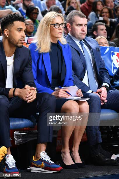 Jenny Boucek of the Dallas Mavericks looks on and takes notes during the game against the San Antonio Spurs on December 26 2019 at the American...