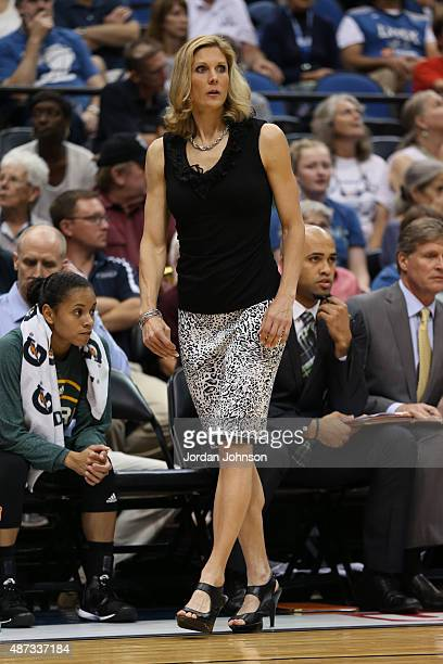 Jenny Boucek of the Seattle Storm coaches against the Minnesota Lynx on September 8 2015 at Target Center in Minneapolis Minnesota NOTE TO USER User...