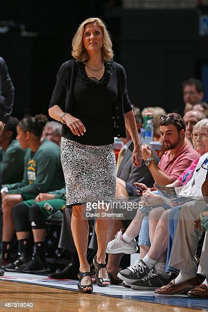 Jenny Boucek of the Seattle Storm coaches during the game against the Minnesota Lynx on September 8 2015 at Target Center in Minneapolis Minnesota...