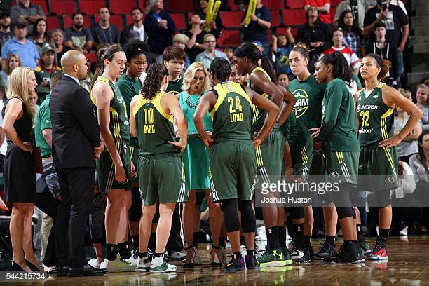 Jenny Boucek of the Seattle Storm coaches during the game against the Dallas Wings June 30 2016 at Key Arena in Seattle Washington NOTE TO USER User...