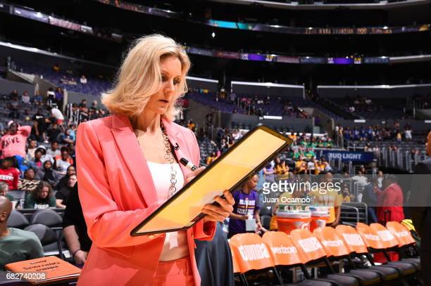 Jenny Boucek of the Seattle Storm draws a play before the game against the Los Angeles Sparks on May 13 2017 at STAPLES Center in Los Angeles...
