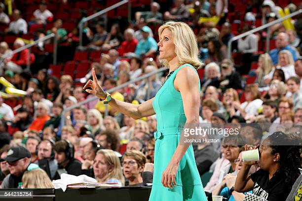 Jenny Boucek of the Seattle Storm is seen during the game against the Dallas Wings June 30 2016 at Key Arena in Seattle Washington NOTE TO USER User...