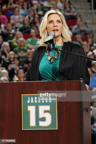 Jenny Boucek of the Seattle Storm pays tribute to Lauren Jackson as the Storm retires her jersey at Key Arena after the game against the Washington...