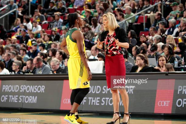 Jenny Boucek of the Seattle Storm talks with Jewell Loyd of the Seattle Storm during the game against the Indiana Fever on May 14 2017 at Key Arena...