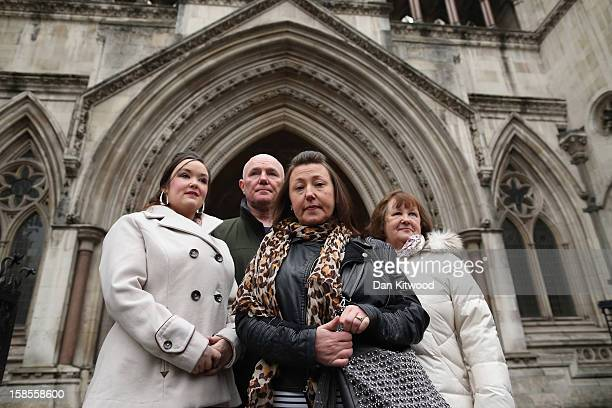 Jenny Burkett Steve Kelly Cathy Gormley and Ann Burkett join other familes who lost relatives in the Hillsborough Distaster outside the High Court on...