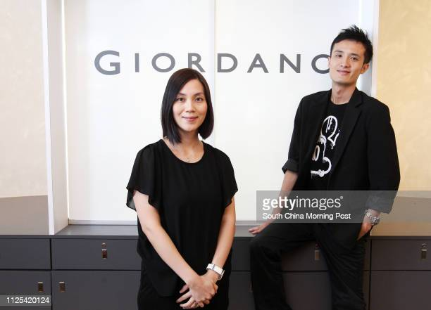 Jenny Choi Chingyin Human Resources Officer and Chris Lau Chinchiu District Supervisor of Giordano Limited poses for a pictures at Giordano Tsim Sha...