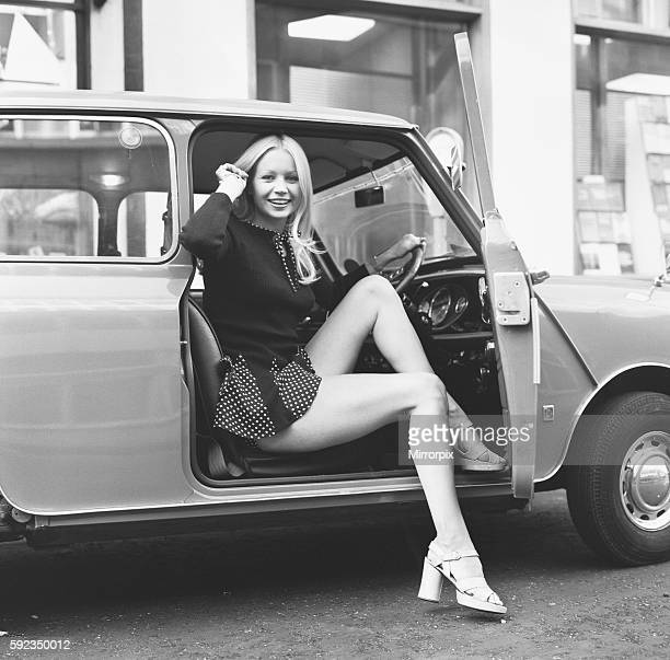 Jenny Clare seen here posing with her Leyland Mini 6th October 1972