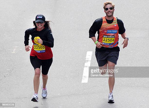 Jenny Craig spokesperson Valerie Bertinelli completes the Boston Marathon four days before her 50th birthday April 19 2010 along with trainer...
