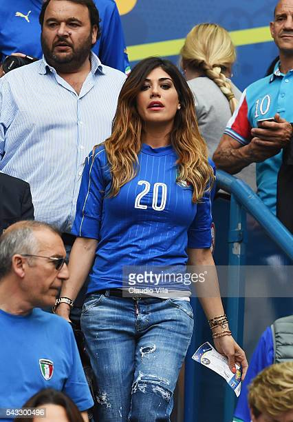 Jenny Darone wife of Lorenzo Insigne of Italy looks on during the UEFA EURO 2016 round of 16 match between Italy and Spain at Stade de France on June...
