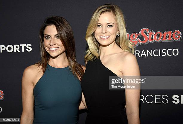 Jenny Dell and Jamie Erdahl attend the Rolling Stone Live Party on their engagement day at San Francisco Design Center on February 6 2016 in San...