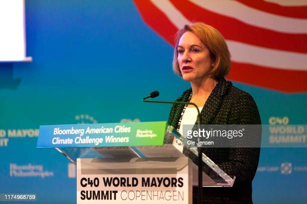 Jenny Durkan, Mayor of Seattle, speaks during the American Cities Climate Challenge conference at the C40 World Mayors Summit on October 10, 2019 in...