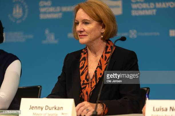 Jenny Durkan, Mayor of Seattle, United States, during the Mayors and Youth Activist press conference at the C40 World Mayors Summit on October 11,...