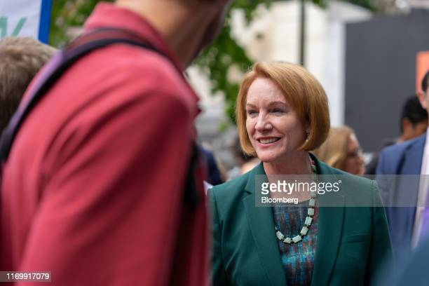 Jenny Durkan, mayor or Seattle, walks through the crowd at City Hall during the Global Climate Strike in Seattle, Washington, U.S., on Friday, Sept....