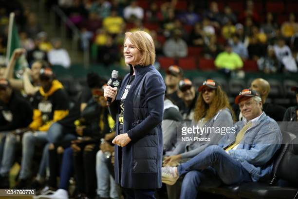 Jenny Durkan, the Mayor of Seattle speaks to fans at KeyArena during the parade to celebrate their WNBA Championship in Seattle, Washington on...