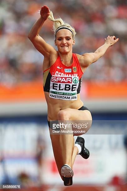 Jenny Elbe of Germany in action during the final of the womens triple jump on day five of The 23rd European Athletics Championships at Olympic...