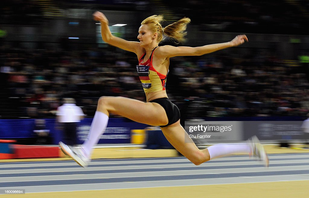 Jenny Elbe of Germany in action during the Womens Triple Jump during the British Athletics International Match at the Emirates Arena on January 26, 2013 in Glasgow, Scotland.