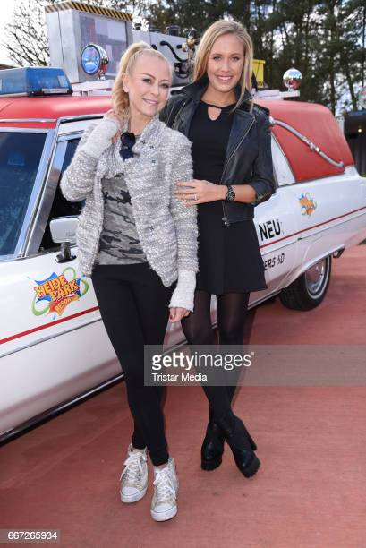 Jenny Elvers and Alena Gerber attend the 'Ghostbusters 5D' opening at Heidepark on April 11 2017 in Soltau Germany