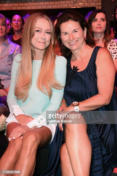 Jenny Elvers and Claudia Obert attend the Lana Mueller show during the Berlin Fashion Week Spring/Summer 2020 at ewerk on July 01, 2019 in Berlin,...