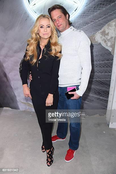 Jenny Elvers and her boyfriend Steffen von der Beeck attend the Riani show during the MercedesBenz Fashion Week Berlin A/W 2017 at Kaufhaus Jandorf...