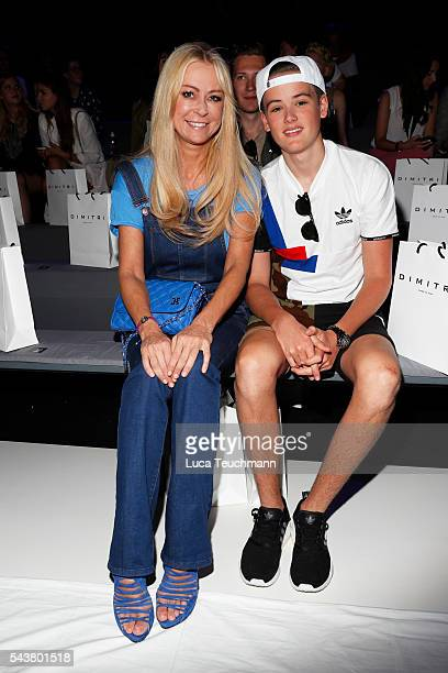 Jenny Elvers and her son Paul Elvers attend the Dimitri show during the MercedesBenz Fashion Week Berlin Spring/Summer 2017 at Erika Hess Eisstadion...