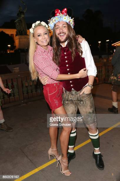 Jenny Elvers and Riccardo Simonetti during the Blond Wies'n as part of the Oktoberfest at Theresienwiese on September 20 2017 in Munich Germany