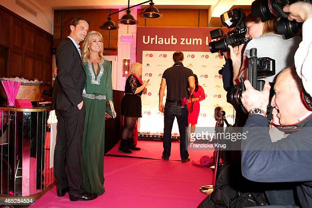 Jenny Elvers and Steffen von der Beeck attend the JT Touristik Celebrates ITB Party on March 05 2015 in Berlin Germany
