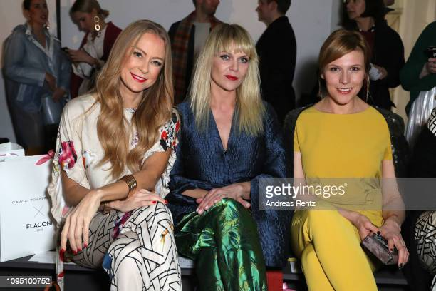 Jenny Elvers Anna Los and Franziska Weisz attend the Dawid Tomaszewski Defile during the Berlin Fashion Week Autumn/Winter 2019 on January 16 2019 in...