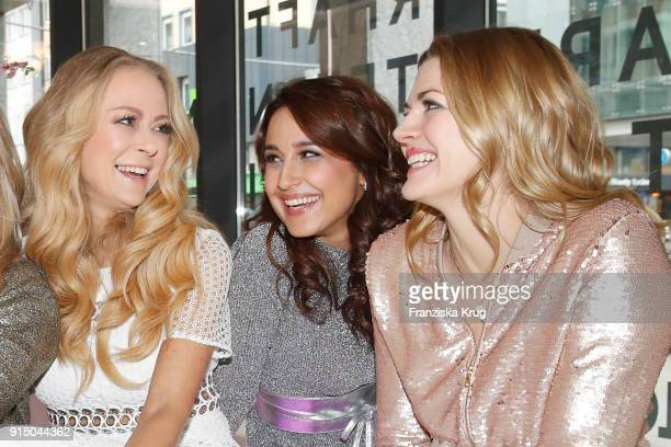 Jenny Elvers Nina Moghaddam and Nina Bott during the presentation of the new hairfree campaign on February 6 2018 in Darmstadt Germany