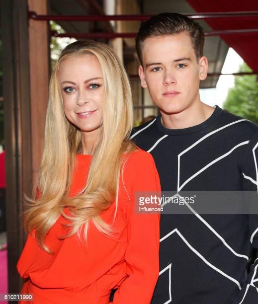 Jenny Elvers with son Paul Jolig attend the Gala Fashion Brunch Ellington Hotel on July 7 2017 in Berlin Germany