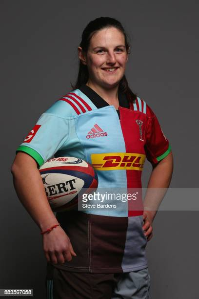 Jenny Eyre poses for a portrait during the Harlequins Ladies Squad Photo call for the 2017/18 Tyrrells Premier 15s Season at Surrey Sports Park on...