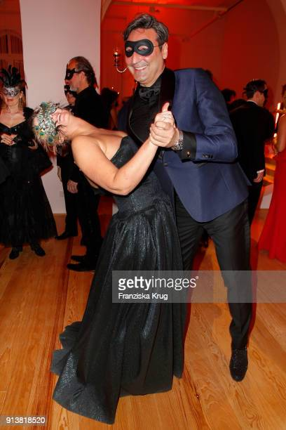 Jenny Falckenberg and Mousse T during the Bal du Masque at Museum fuer Kunst und Gewerbe on February 3 2018 in Hamburg Germany