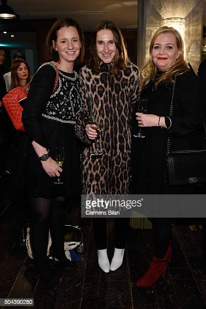 Jenny Falckenberg Annette Weber and Ingrid Rose attend E Red Carpet Influencer Suite promoting Live from the Red Carpet on german E Entertainment at...
