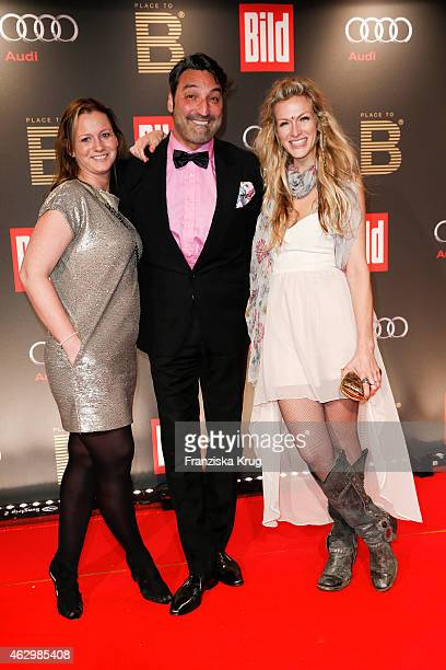 Jenny Falckenberg Mousse T and Mia Florentine Weiss attend the Bild 'Place to B' Party on February 07 2015 in Berlin Germany