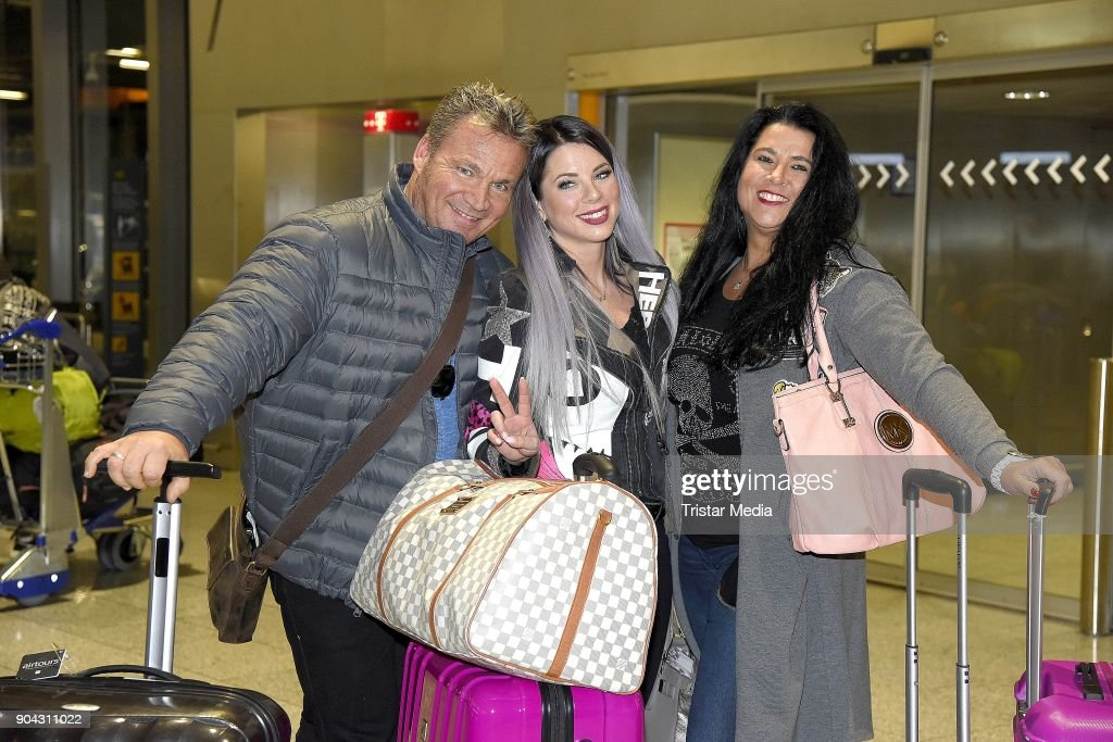 Jenny Frankhauser, her mother Iris Klein and her husband Peter Klein leave for 'I'm a celebrity- Get Me Out Of Here!' ('Ich bin ein Star - Holt mich hier raus!') in Australia at Frankfurt International Airport on January 12, 2018 in Frankfurt am Main, Germany. 'I'm a celebrity - Get Me Out Of Here!' ('Ich bin ein Star - Holt mich hier raus!'), also known as 'Jungle Camp' ('Dschungel- Camp') is an annual German reality TV show.