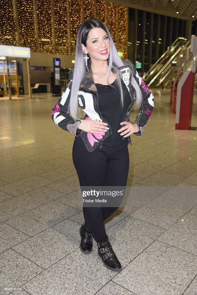 Jenny Frankhauser leaves for 'I'm a celebrity- Get Me Out Of Here!' ('Ich bin ein Star - Holt mich hier raus!') in Australia at Frankfurt International Airport on January 12, 2018 in Frankfurt am Main, Germany. 'I'm a celebrity - Get Me Out Of Here!' ('Ich bin ein Star - Holt mich hier raus!'), also known as 'Jungle Camp' ('Dschungel- Camp') is an annual German reality TV show.