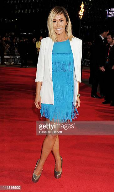 Jenny Frost arrives at the European Premiere of 'The Hunger Games' at the O2 Arena on March 14 2012 in London England